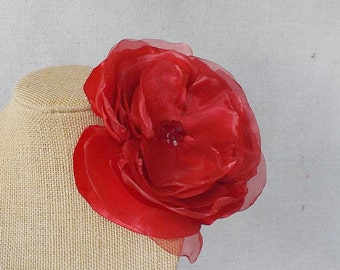 Flower Brooch/Clip Combo in Red Satin & Organza