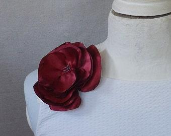 Small Flower Brooch in Merlot Satin Shantung