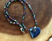 Blue Aqua Heart Beaded Charm Necklace, Ceramic Heart Necklace, Valentines Necklace, Mother of Boys Necklace