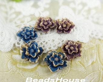 20% OFF - 345-02-5870-CA  6pcs Beautiful Sakura Cabochons - Golden Petals