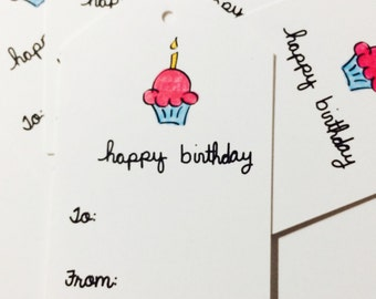 Cupcake Birthday Gift Tags, Cupcake Gift Wrap, Cupcake Hanging Tags, To From, made on recycled paper