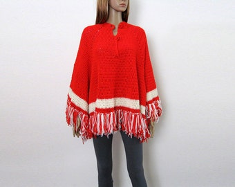 1970s Vintage Poncho Red White Handmade Crocheted Fringed Sweater Top / Small to Medium