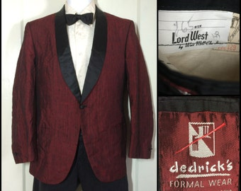 1950's Sharkskin Suit Tuxedo Dinner Jacket looks size Medium Textured silk rayon 2 tone Burgundy Red Black satin lapel single button no vent