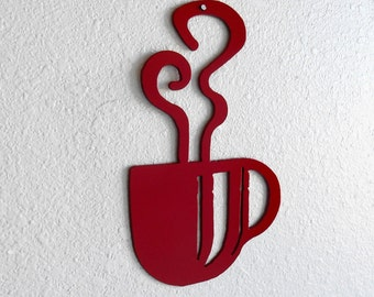 Red Coffee Cup Wall Art  Metal Wall Decoration