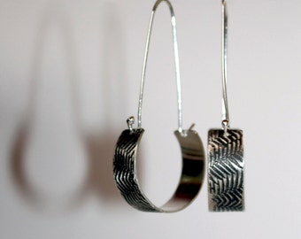 Sterling Silver Fern Fronds Pattern Etched Texture Hoop Drops - Handmade Nature Jewellery