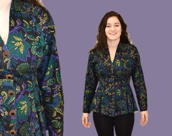 Hipster jacket floral knit Blazer rocker indie fall Back to School  emerald purple 1990s office nipped waist IngridIceland
