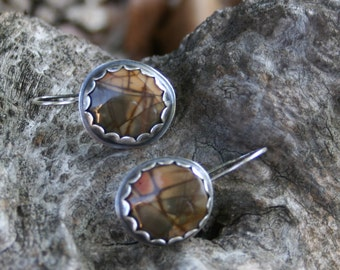 Picasso Jasper Sterling Silver Oxidized Bohemian Dangle Silversmith Earrings