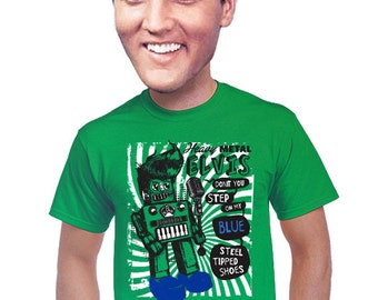 heavy metal, elvis, robot t-shirt, robot geeky robot t-shirt, nerdy, fans of geekery, elvis music, elvis presley t-shirt, retro toy, s-4xl