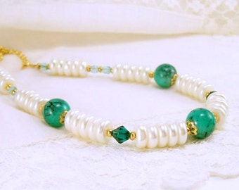 Pearl Necklace~ Off White and Teal Beaded Necklace~Beaded Jewelry~ Bridal Jewelry~ Handmade~ Mother's Day Gift~ Pearl Jewelry