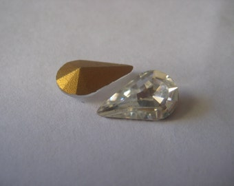13x8mm Vintage Crystal Clear Pear Rhinestone Qty 59