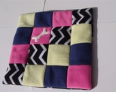 XS dog blanket - black/white chevron