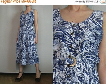 SUMMER SALE 80s LEAF Print Delft vtg China Blue White Leaves Belted Button Down Shirtwaist Midi Sundress Sun Dress Small Medium m/l 1980s