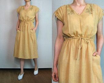 70s Indian COTTON GAUZE Dress Vintage 70s Ecru Embroidered Cotton Dress 70s Drawstring Waist Dress 70s India Cotton Dress Peach Dress