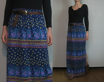70s STRIPED FLORAL MAXI Vintage Floral Horizontal Stripes Indigo Red Yellow Mauve Green Red High Waist Maxi Skirt xs Small s/m 1970s