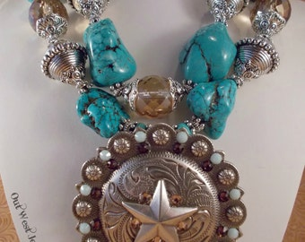 Cowgirl Necklace Set - Chunky Aqua and Brown Howlite Turquoise - Crystal - Huge Star Concho Pendant