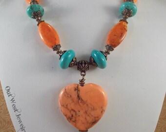 Cowgirl Necklace Set - Chunky Aqua and Orange Howlite Turquoise - Heart Pendant