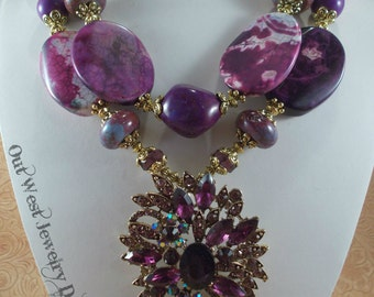 Western Necklace Set - Chunky Purple Fire Agate with Large Crystal Pendant - Cowgirl Statement Piece
