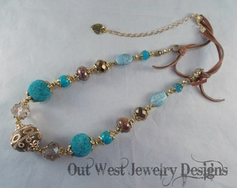 Western Cowgirl Necklace Set - Chunky Teal and Brown Kashmiri Beads with Crystal and Leather