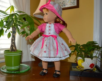 18 Inch Doll Clothes Sleeveless Double Skirted Dress, Pink Cotton Shrug Jacket and Floppy Brimmed Hat by SEWSWEETDAISY
