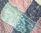 Rag Quilt- Mermaid Theme- Baby Rag Quilt- Crib Quilt- Baby Quilt- Crib Bedding- Nautical Theme- Sea Turtles