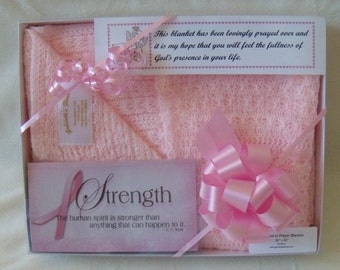 Cancer Awareness Prayer Blanket that is comforting and soft. Gift boxed with a decorative bow.