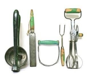 Vintage Green Kitchen Utensils / Wood Handled Kitchenware / Kitchen or Restaurant Decor