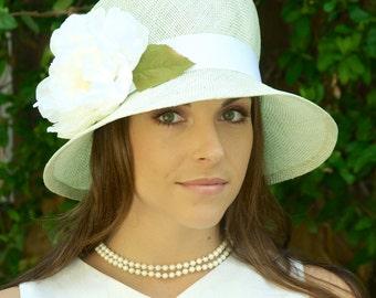 Wedding hat, church hat, straw cloche, Downton Abbey hat, Ascot hat, women's pale green straw hat, derby hat, 1920s 1930s hat, occasion hat