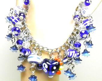 Chicken Bracelet, Rooster Bracelet, OOAK White & Delft Blue, Silver Chicken Charm Bracelet, Chicken Jewelry, Rooster Jewelry Hen Bracelet #4