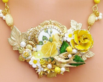 Vintage Style Collage Assemblage Necklace set, Yellow, Green. Matching Earrings