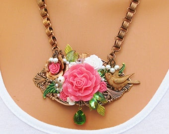 Assemblage Necklace, Pink and Copper, Bird, Book chain