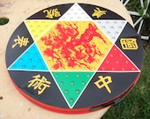 Chinese Checkers Metal Board--Ohio Art--  ( 2 games in one) with Marbles & Checkers