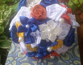 Fabric Flower Bouquet, Handmade Bouquet, Custom Bouquet, Lace Flower, Bride Bouquet, Satin Flower, Burlap Rose, Burlap and Fabric