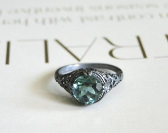 Vintage Sterling Silver Emerald Ring, Gift for Her, 2.0ct Vintage Engagement Filigree Sterling Silver Ring, Accessories