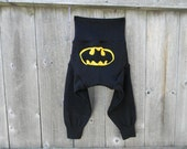Upcycled Wool  Longies Soaker Cover Diaper Cover With Added Doubler Black With Batman Applique  LARGE 12-24M Kidsgogreen