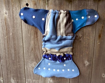 Upcycled Wool Nappy Cover Diaper Wrap Cloth Diaper Cover One Size Fits Most Gray/ Blue Patchwork Scrappy/ Navy Blue