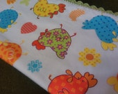 Whimsical Folk Art Chicken Reversible Flannel Baby Receiving Blanket with Crochet Trim