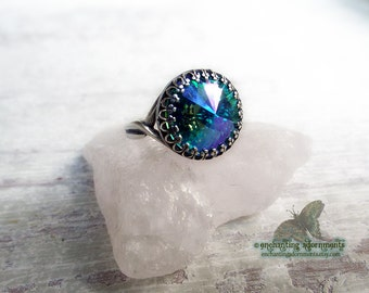 Celestial Magic Enchanted Rings Series -- AURORA -- Aged Silver Adjustable ring with Swarovski crystal