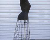 RESERVED.... Vintage / Antique Wasp waist / Bustle Dress form / Mannequin / French / Civil War era / RARE / Costume Maker / Cage / Ornate