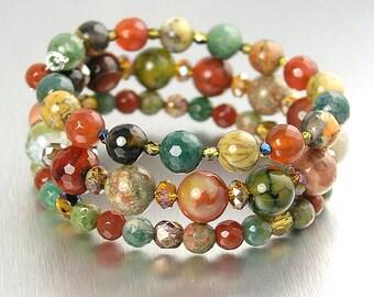 Colorful Gemstone Bracelet Beaded Autumn Bracelet Multi Color Boho Bracelet Memory Wire Bracelet Multi Strand Wrap Bracelet Autumn Jewelry
