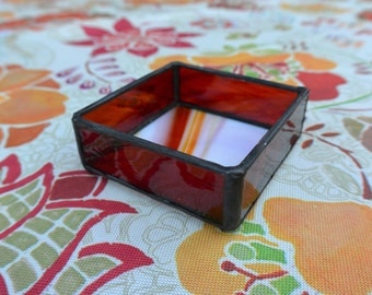 Stained Glass Box in Orange & Red