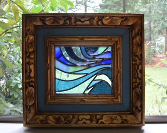 Stained Glass Framed Panel - Blue Wave