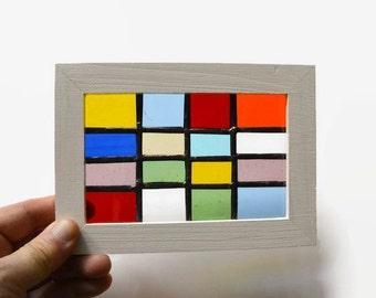 Stained Glass Miniature Window - in Rainbow of Colors Patchwork Suncatcher