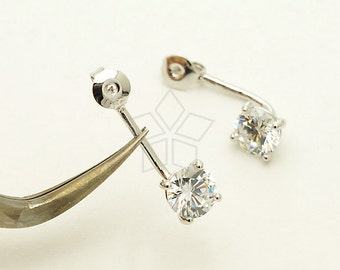 EA-176-OR / 2 Pcs - Ear Jackets (6mm Single CZ Stone), for Ear Cuffs and Front Back Earrings, Silver Plated over Brass / 19mm