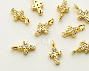 SV-146-GD / 2 Pcs - Very Tiny CZ Cross Pendant, Small Cross Charm, Tiny Cross Charms, 16K Gold Plated over 925 Sterling Silver / 4mm x 8mm