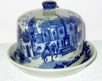 Flow Blue Victoria Ware Ironstone Cake Dome Victorian Scene Home and Garden Kitchen and Dining Tableware Serveware Cake Dome