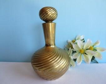 Vintage Brass Decanter - Vase - Brass Urn with Brass Stopper