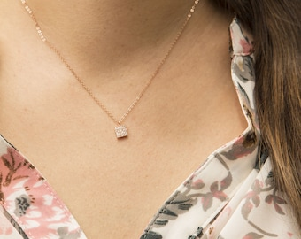 Pave Tiny Square Charm Necklace, Dainty Pave CZ Tag Necklace, Pave Necklace, Delicate Necklace, Square Necklace, Tiny CZ Square Necklace