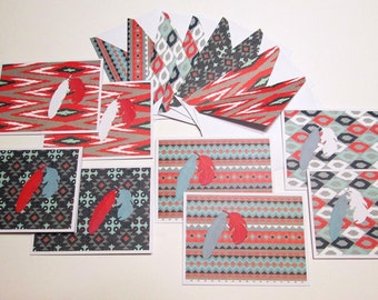 Handmade Note Cards - Set of 8 SOUTHWESTERN FEATHERS notecards with matching decorated flap envelopes