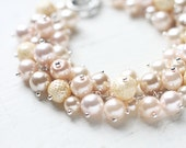 Pastel Peach and Yellow Bridesmaids Jewelry, Pearl Cluster Bracelet - Dreamy Summer