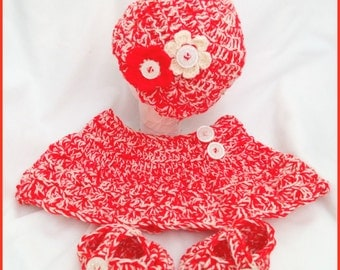 Crochet Red and Creme Baby Set-One Of A Kind